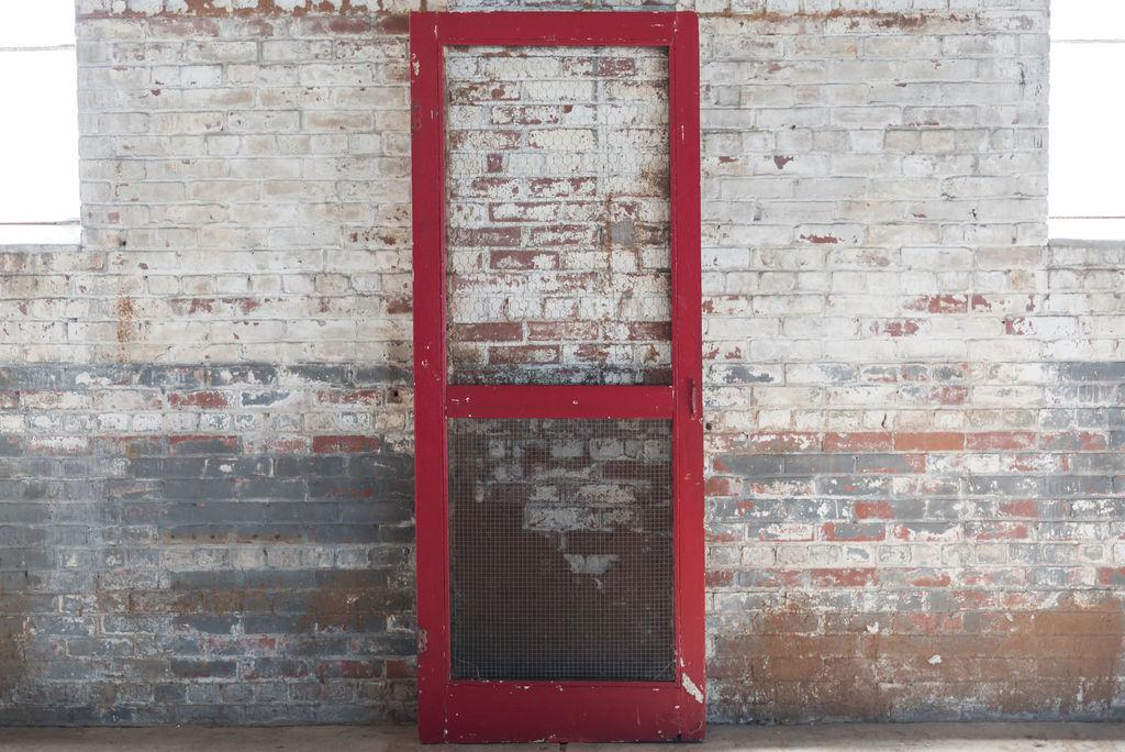 Vintage Red Screen Door