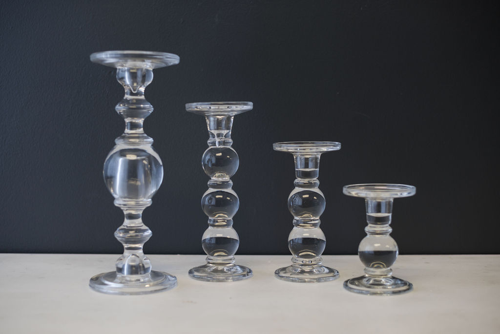 Assorted Clear Glass Pillar Candlesticks