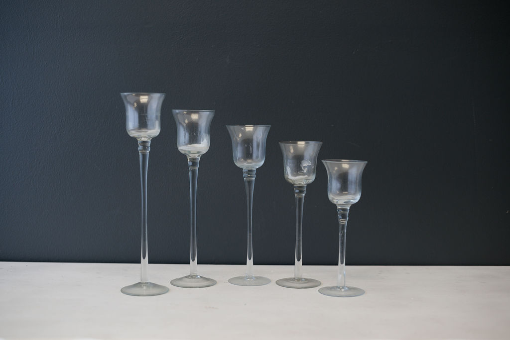Assorted Clear Glass Stemmed Votives