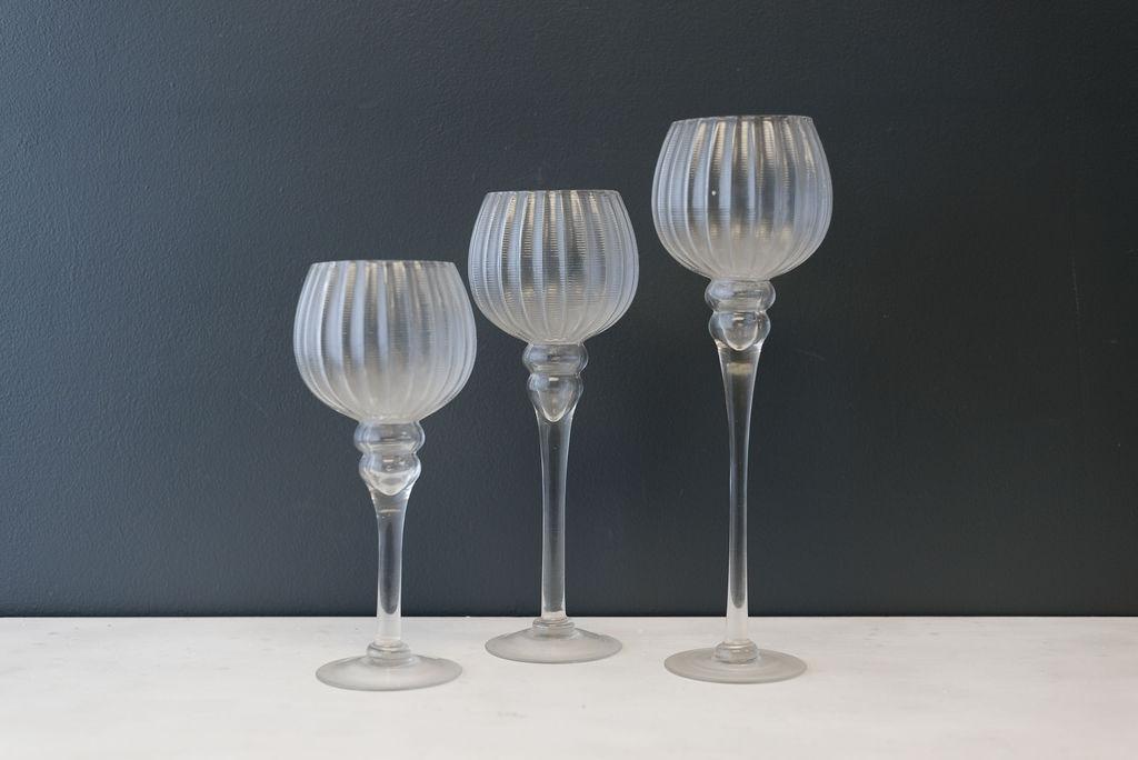 Assorted Glass Globed Stemmed Votives