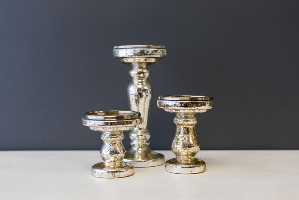 Assorted Gold Mercury Glass Pillar Candlesticks