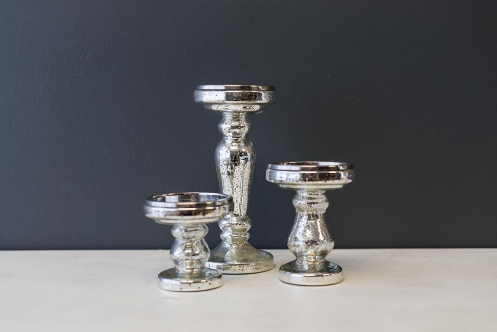 Assorted Silver Mercury Glass Pillar Candlesticks