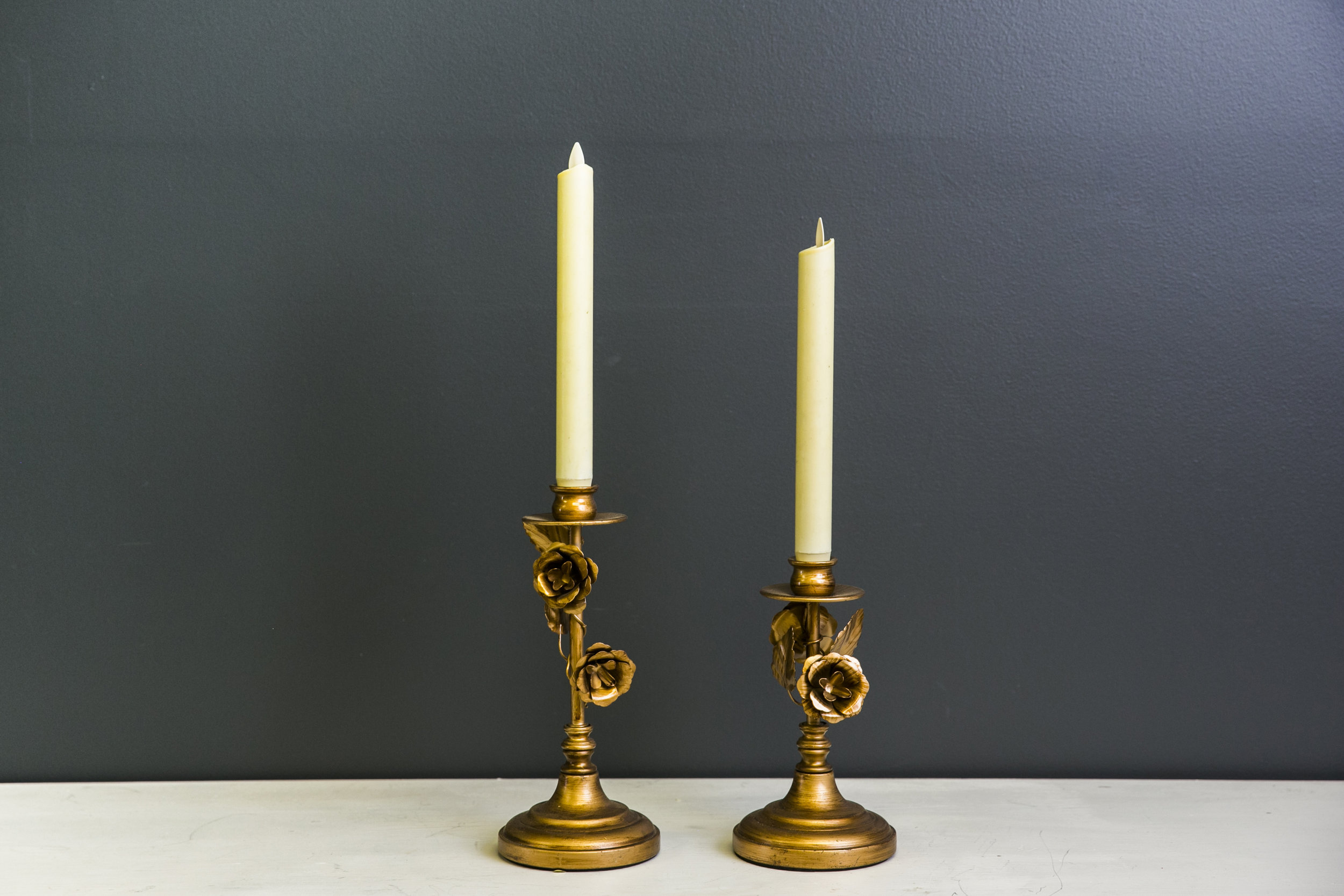 Rose Vine Candlestick Set Gold