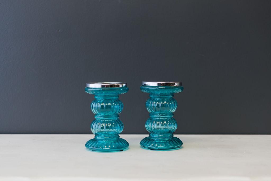 Teal Glass Pillar Candlesticks