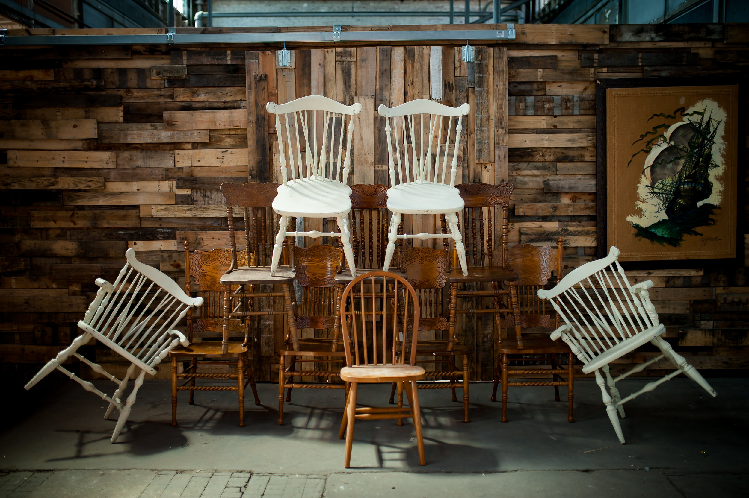 Misc Mismatched Wooden Chairs