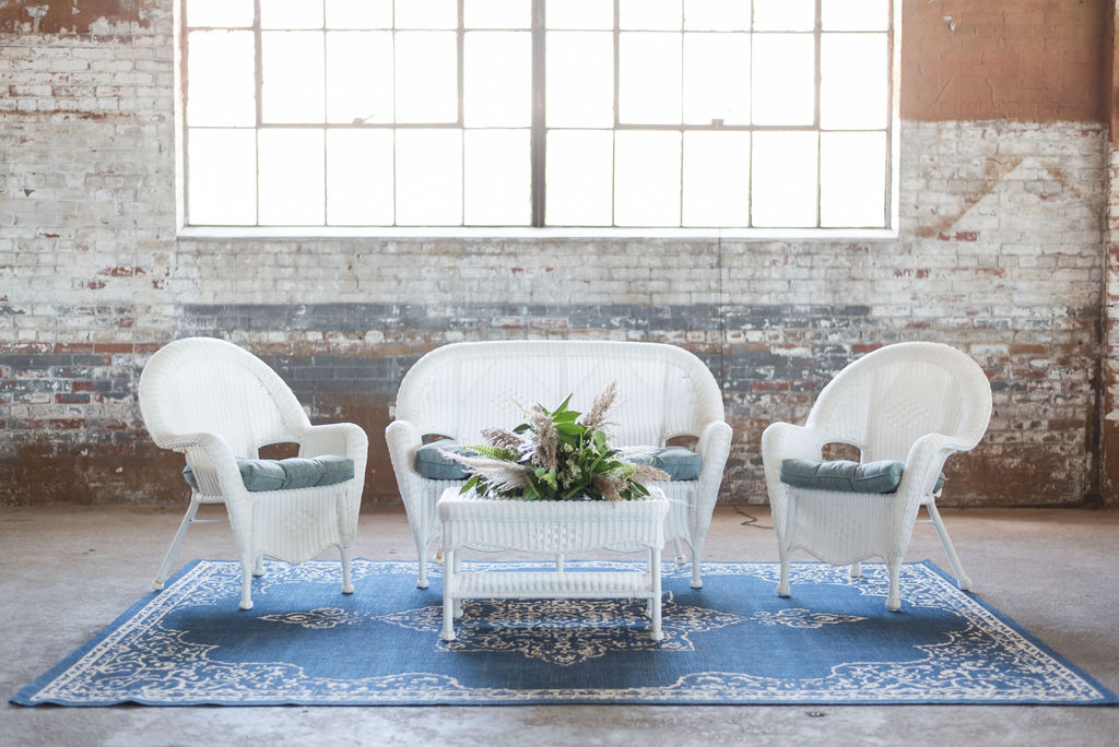 Wicker Lounge Group (White) (Florals not included)
