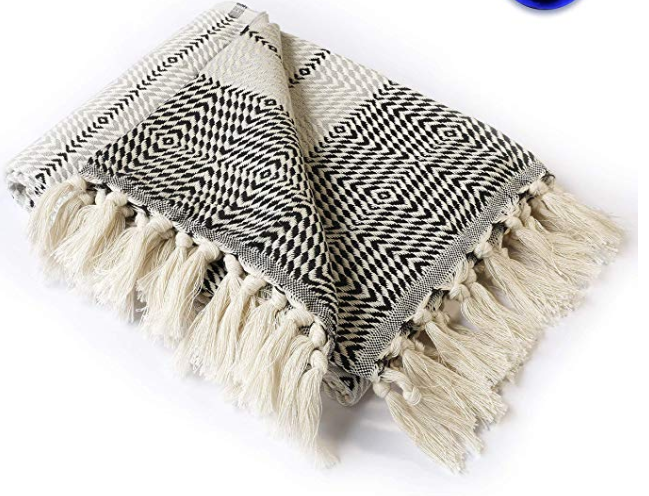 Boho Throw - Blanket Black - White - Grey Throw