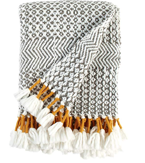 Rivet Boho Throw - Blanket Black - White - Grey - Gold Throw
