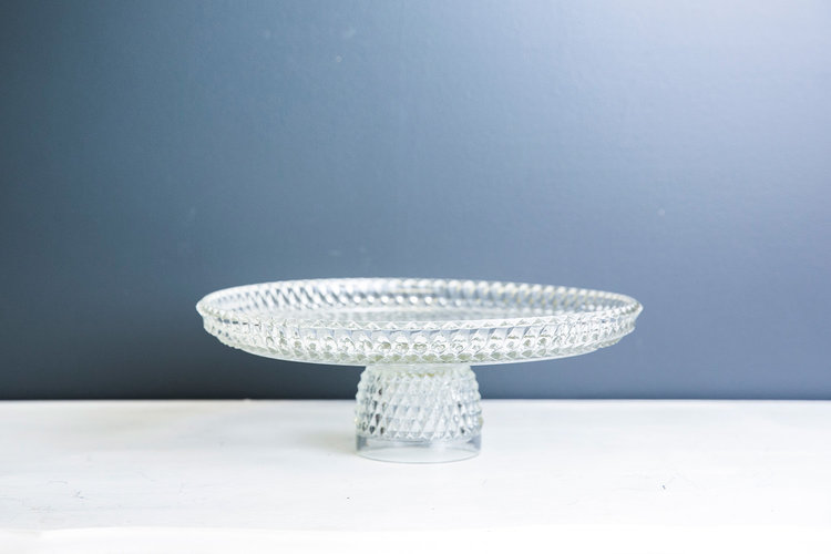 Darcy Cake Plate Stand - Vintage Cut Glass