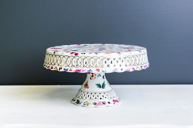 Delilah Cake Plate Stand - Floral Buttlerfly