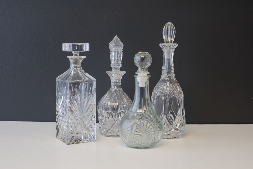 Assorted Vintage Crystal Whiskey & Wine Decanters