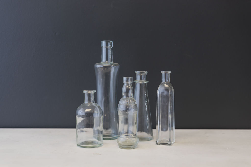 Assorted Clear Glass Bottles