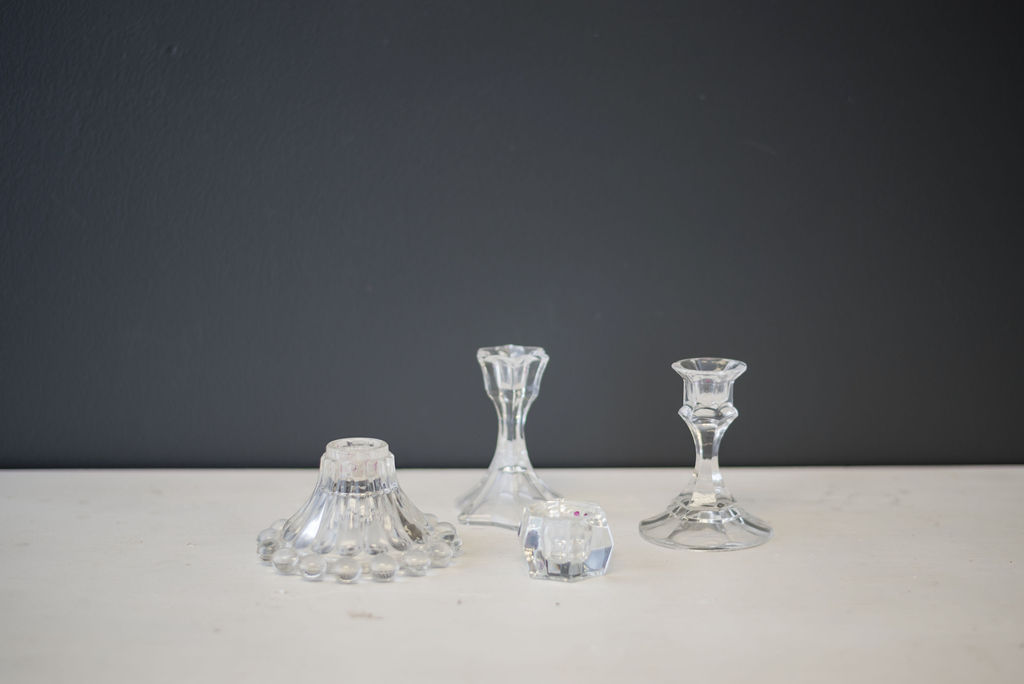 Assorted Glass Vintage Candlestick Holders