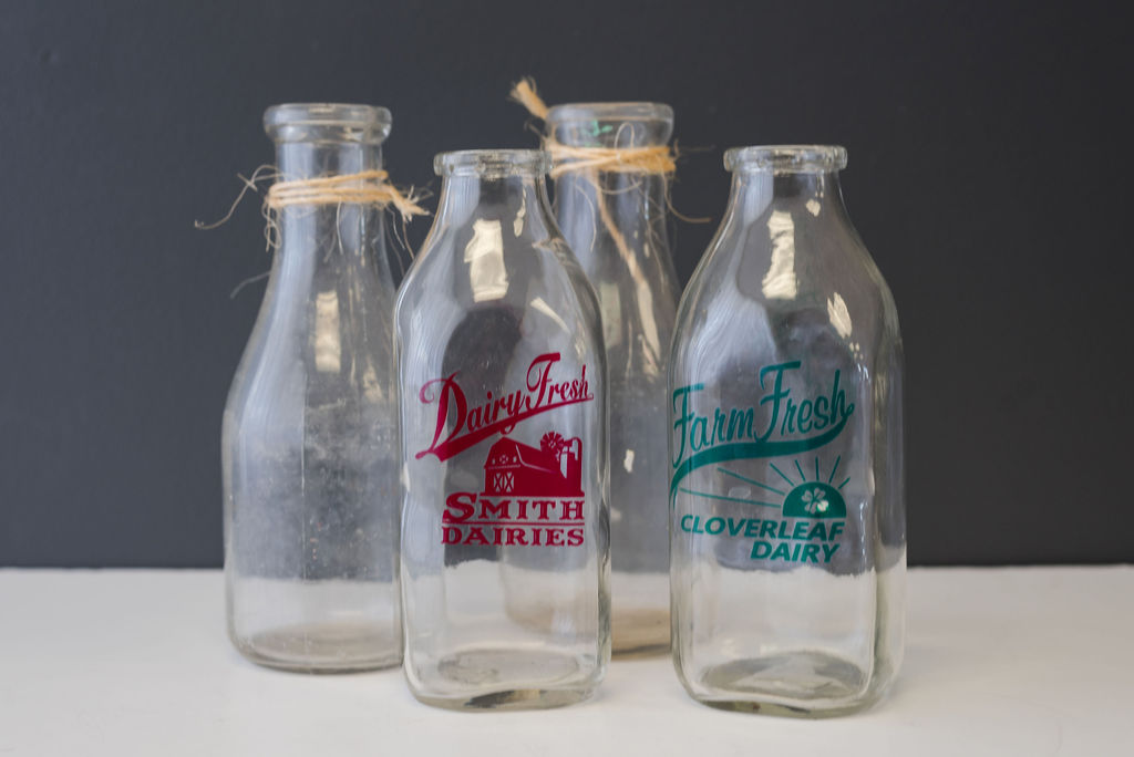 Assorted Vintage Glass Milk Bottles