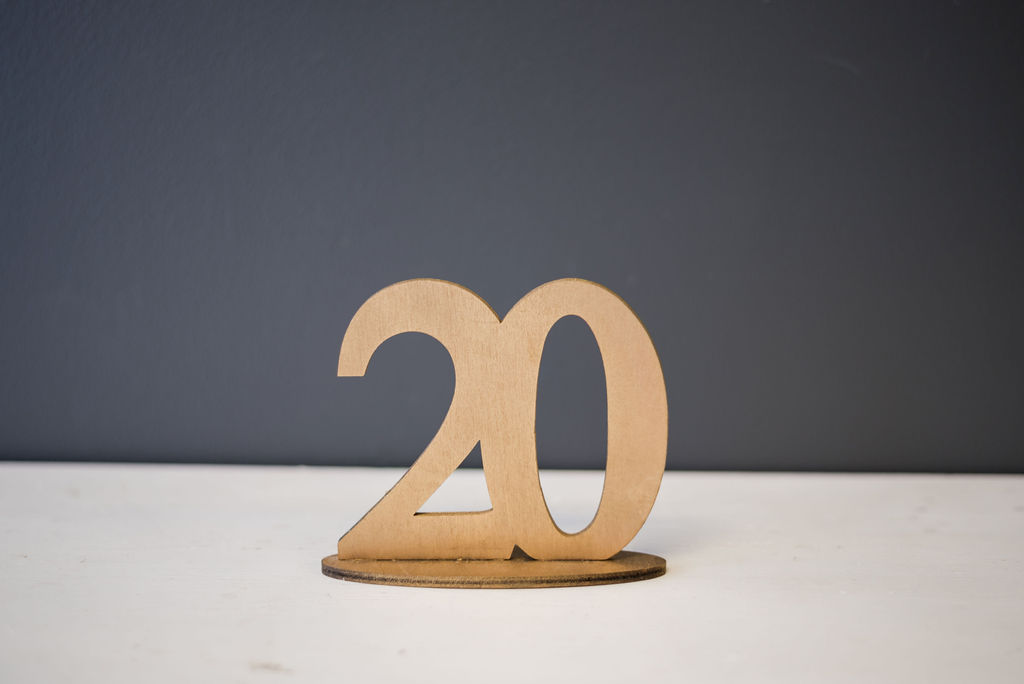 Gold WoodenTable Numbers (#20)