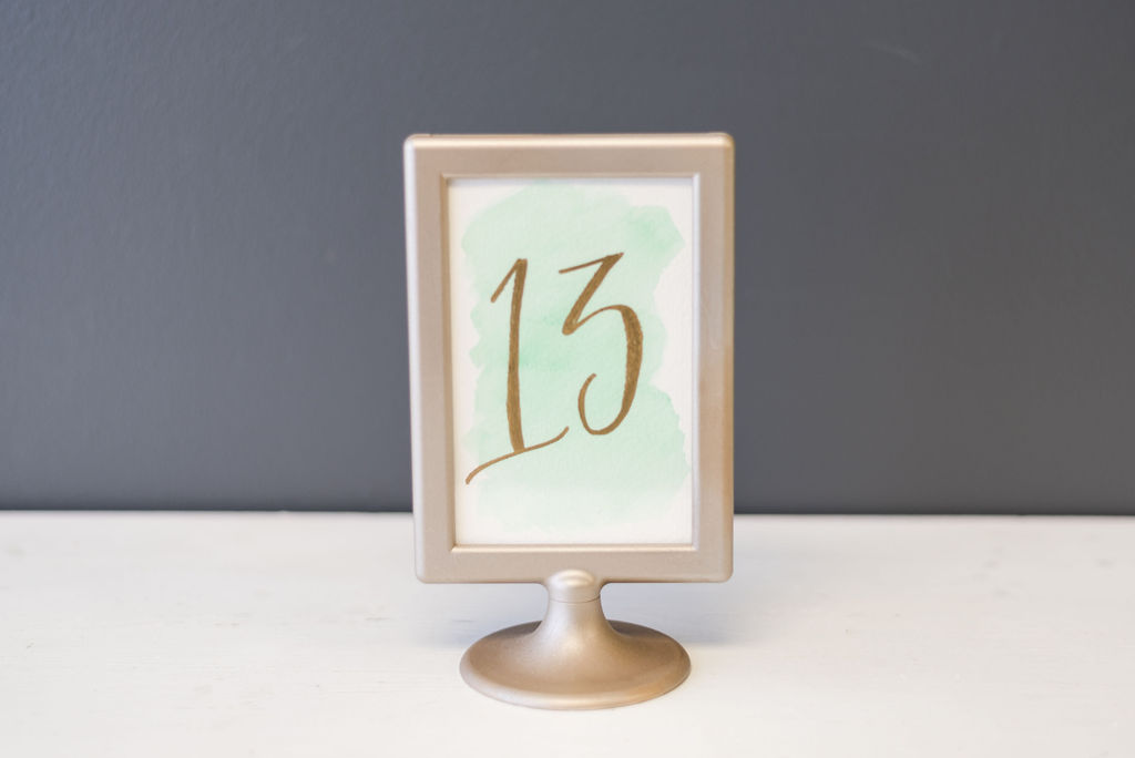 Green Water Color & Gold Table Numbers (#13)