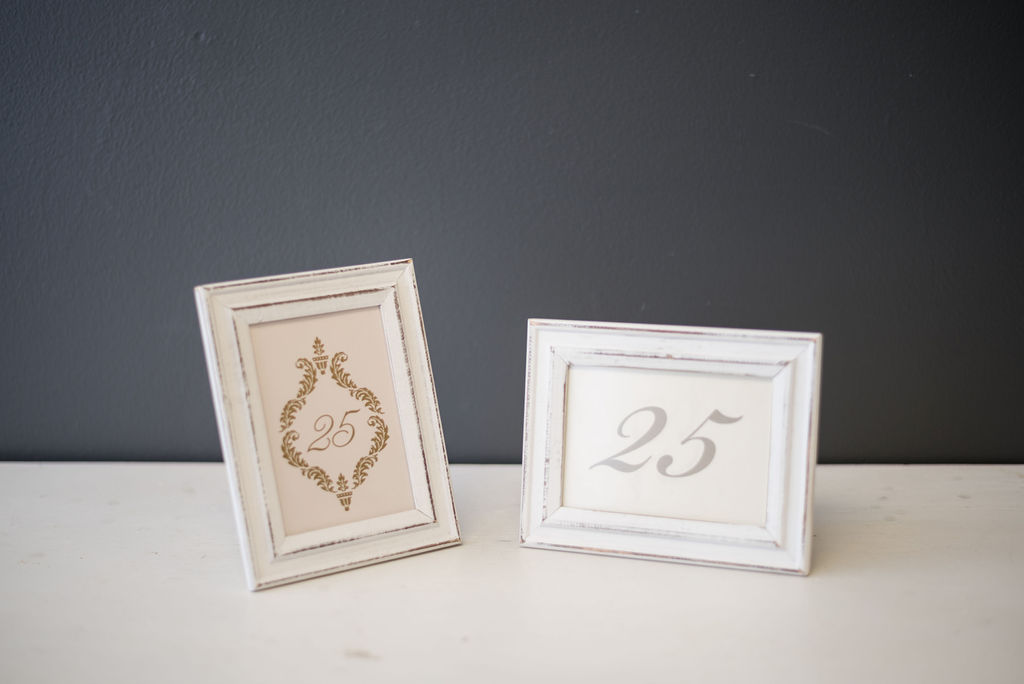 White Wash Frame Table Numbers (#25) - Choice of Style