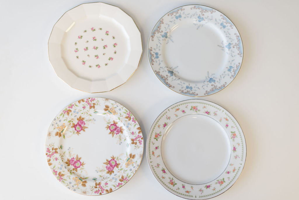 Assorted Mismatched Vintage China (Dinner Plates & Cake Plates)