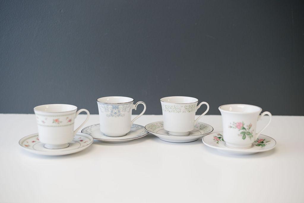 Assorted Mismatched Vintage China Teacups & Saucers