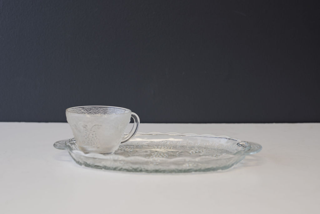 Vintage Cut Glass Luncheon Plates with Punch Cups
