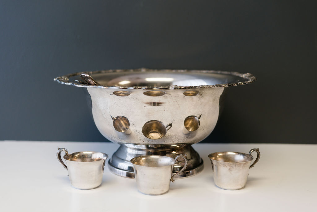 Vintage Silver Punch Bowl and Cups