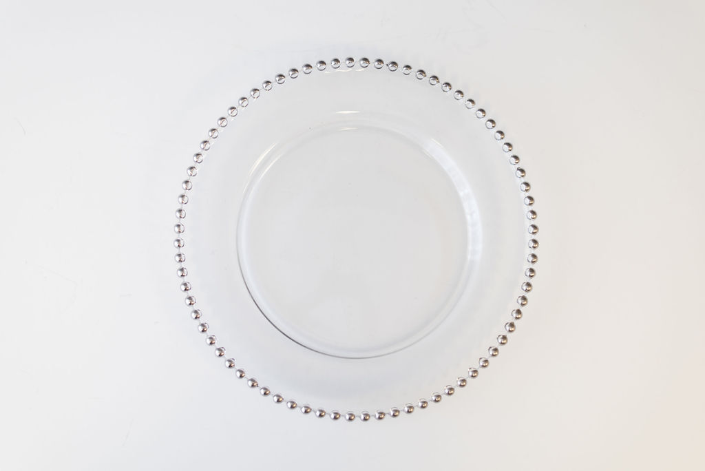 Estelle Silver Beaded Glass Charger