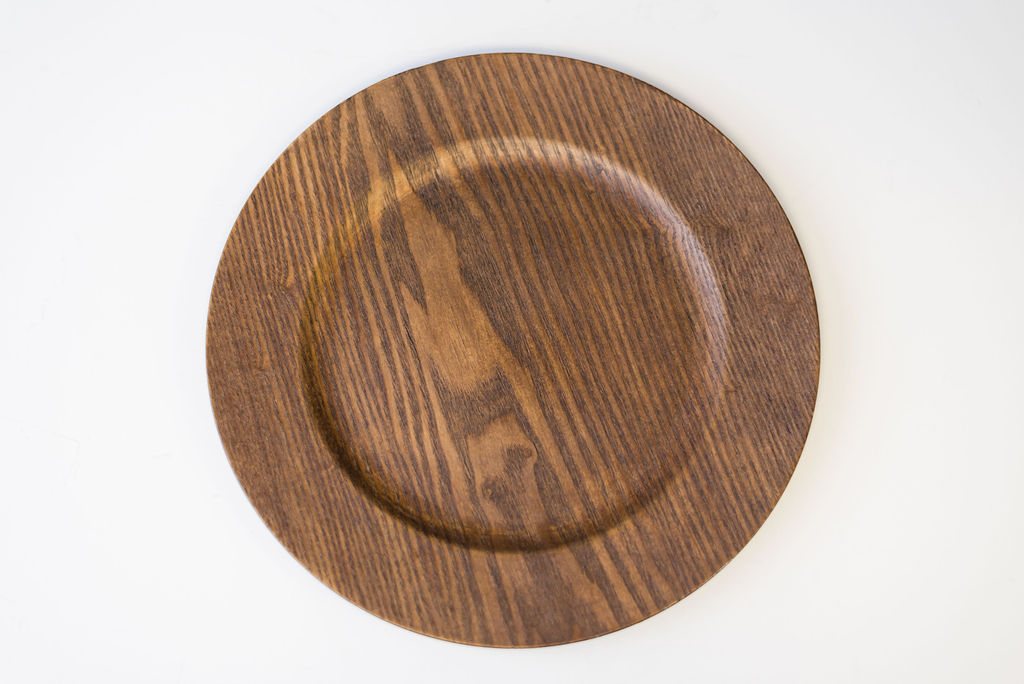 Rocky Faux Driftwood Charger (Brown Wood)