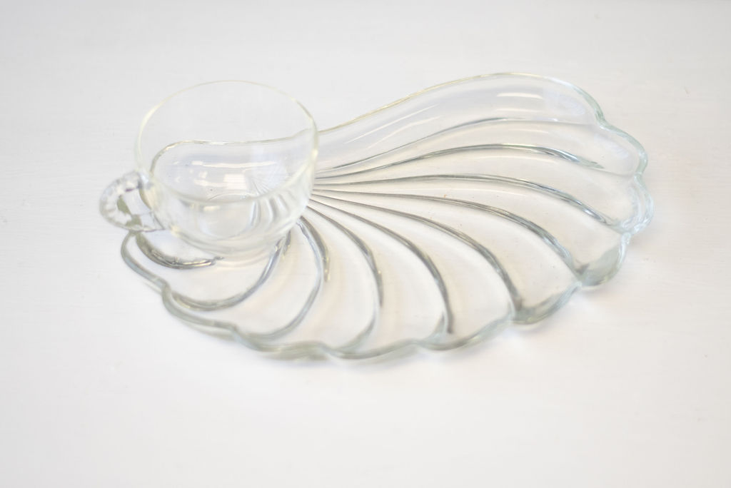 Vintage Glass Luncheon Plate and Punch Cup (Shell).