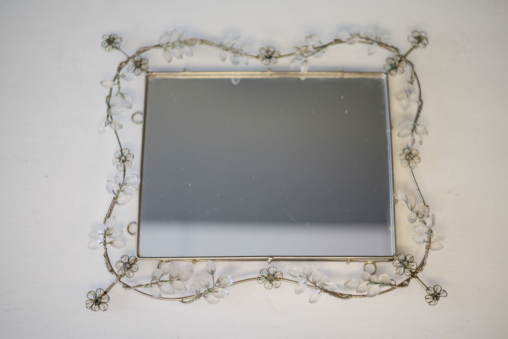 Attie Rectangle Mirrored Tray (Silver and Crystal)