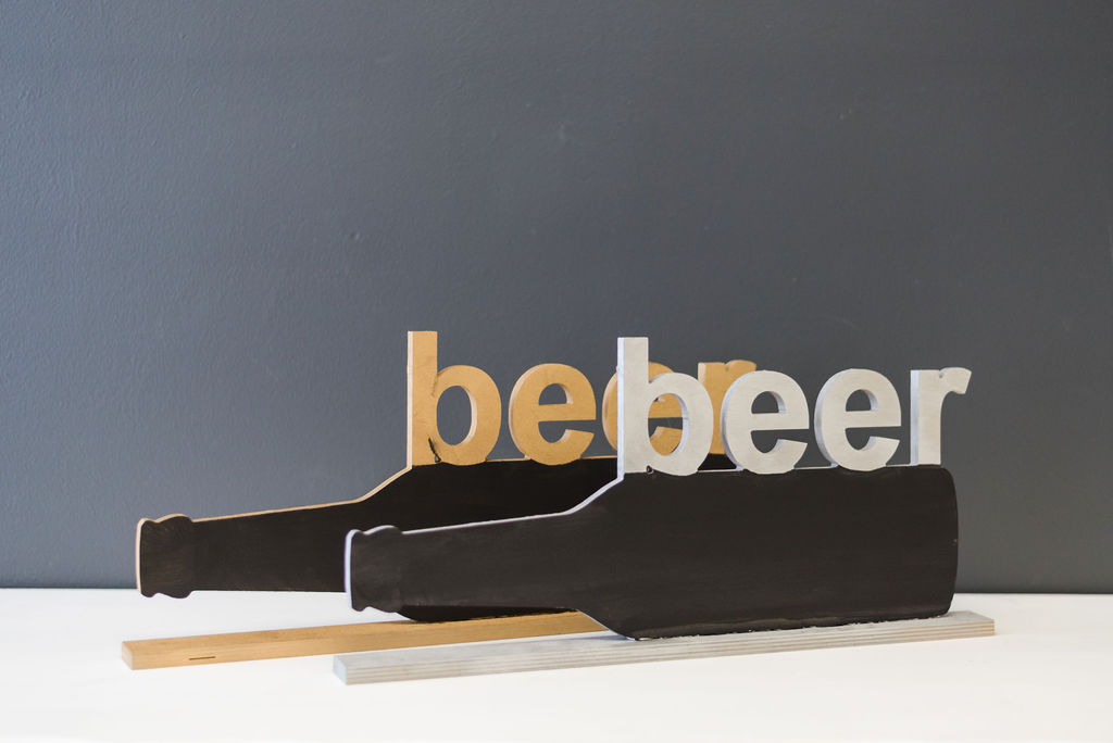 Beer Bottle Bar Signs (Gold and Silver)