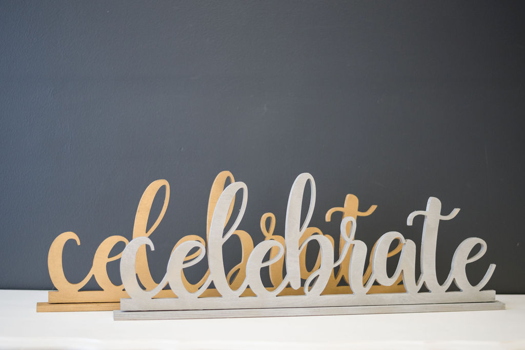Celebrate Table Signs (Silver and Gold)