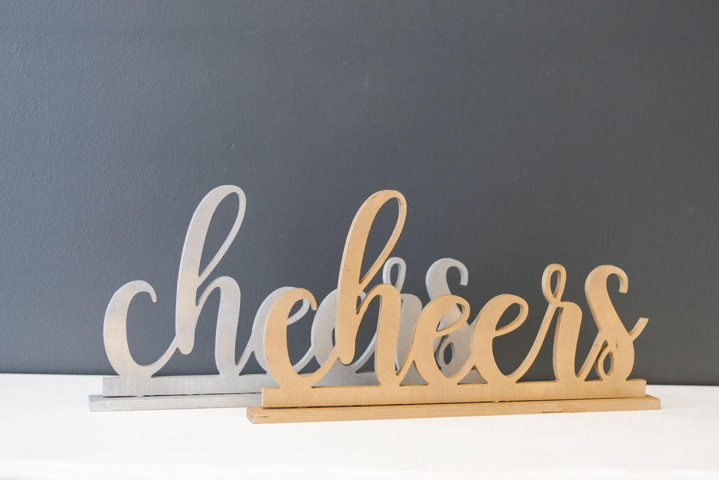 Cheers Table Signs (Silver and Gold)