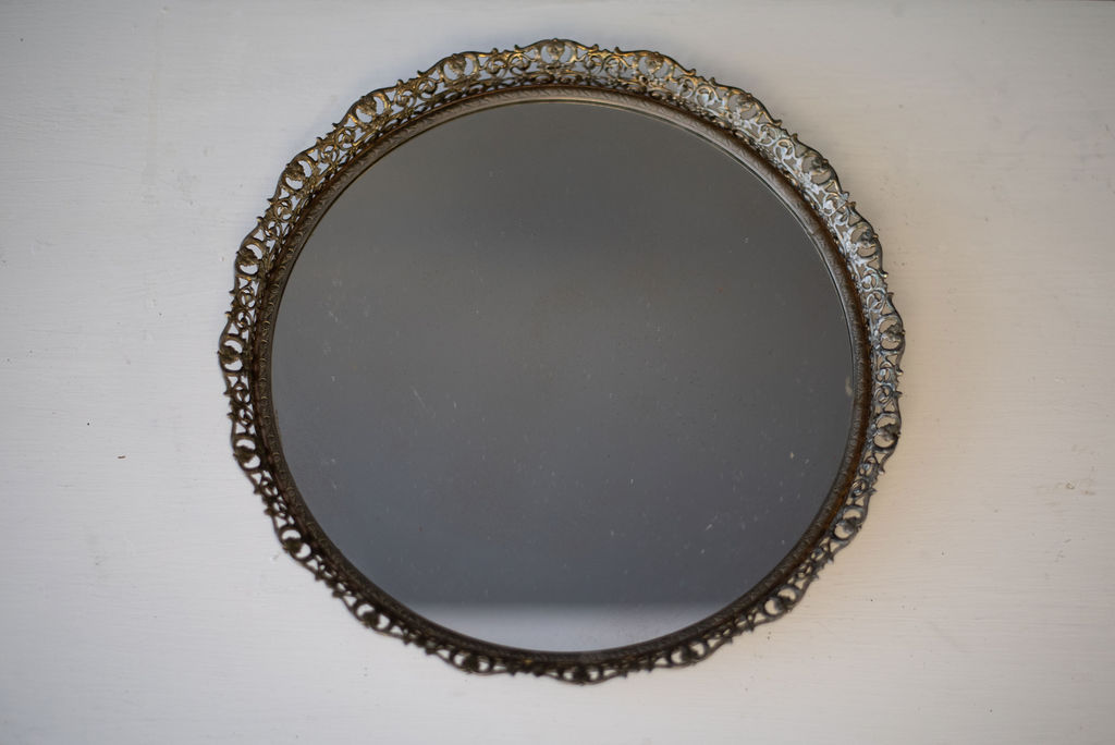 Inez Round Mirrored Tray (Gold)