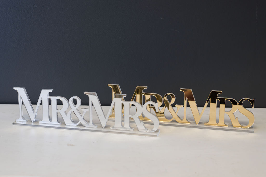 Mirrored Mr. & Mrs Signs (Gold and Silver)
