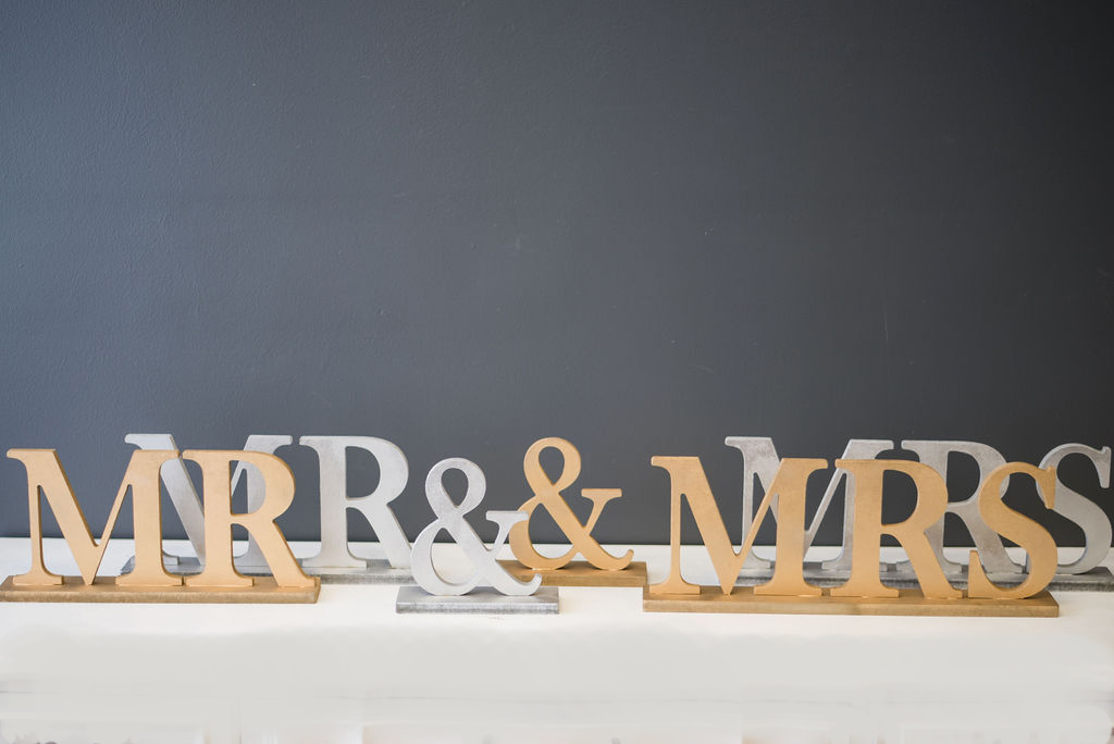 Mr & Mrs Table Signs - Caps Small (Silver and Gold)