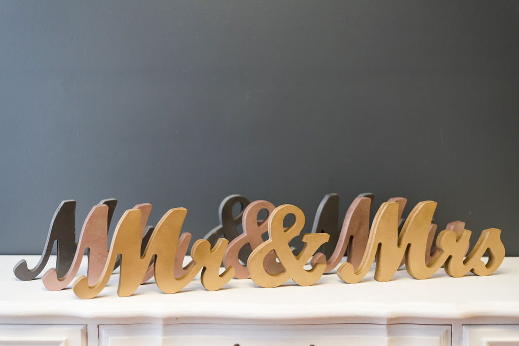 Mr & Mrs Table Signs - Script (Pewter, Rose Gold and Gold)