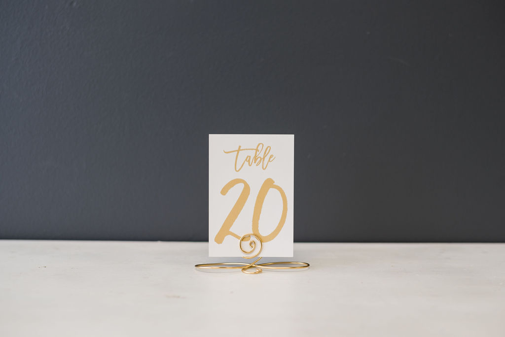 Silver Gold Hand Lettered Table Numbers