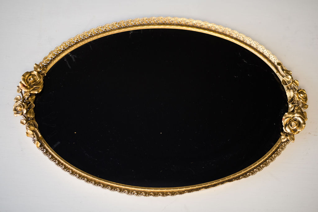 Vera Black Mirrored Tray (Gold)