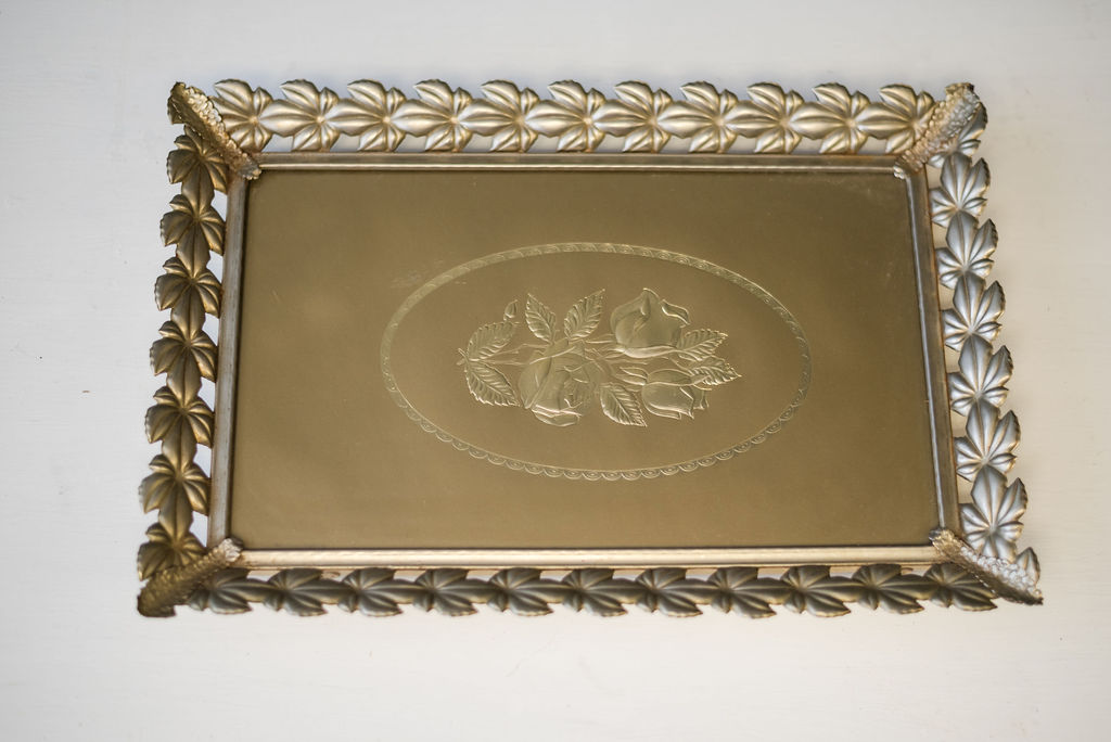 Viola Square Mirrored Tray (Gold)