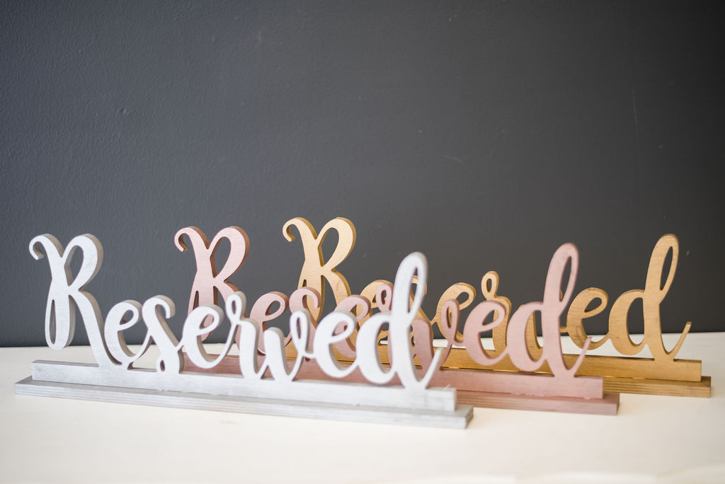Wooden Script Tabletop Reserved Signs