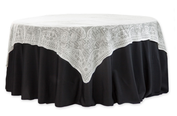 Square Ivory Quaker Lace Table Overlay
