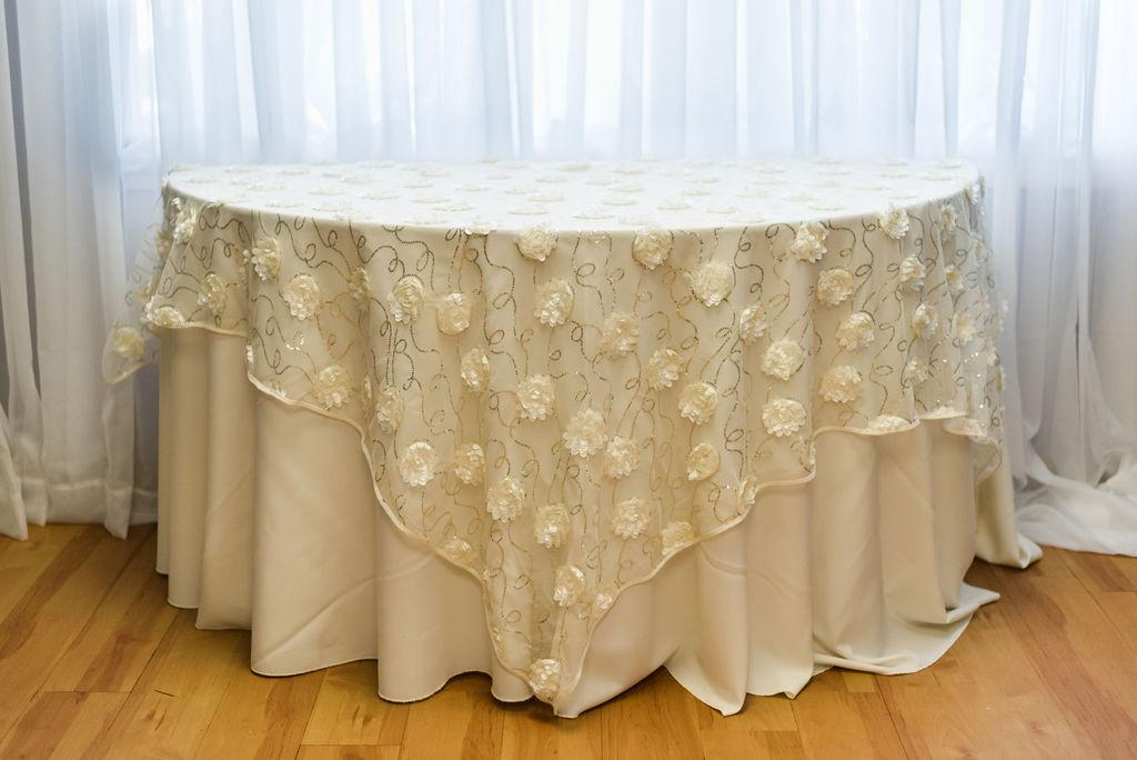 72SQ Ivory Florette Overlay Linen