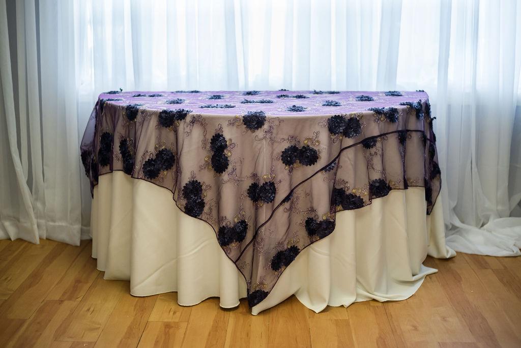 72SQ Purple Florette Overlay Linen