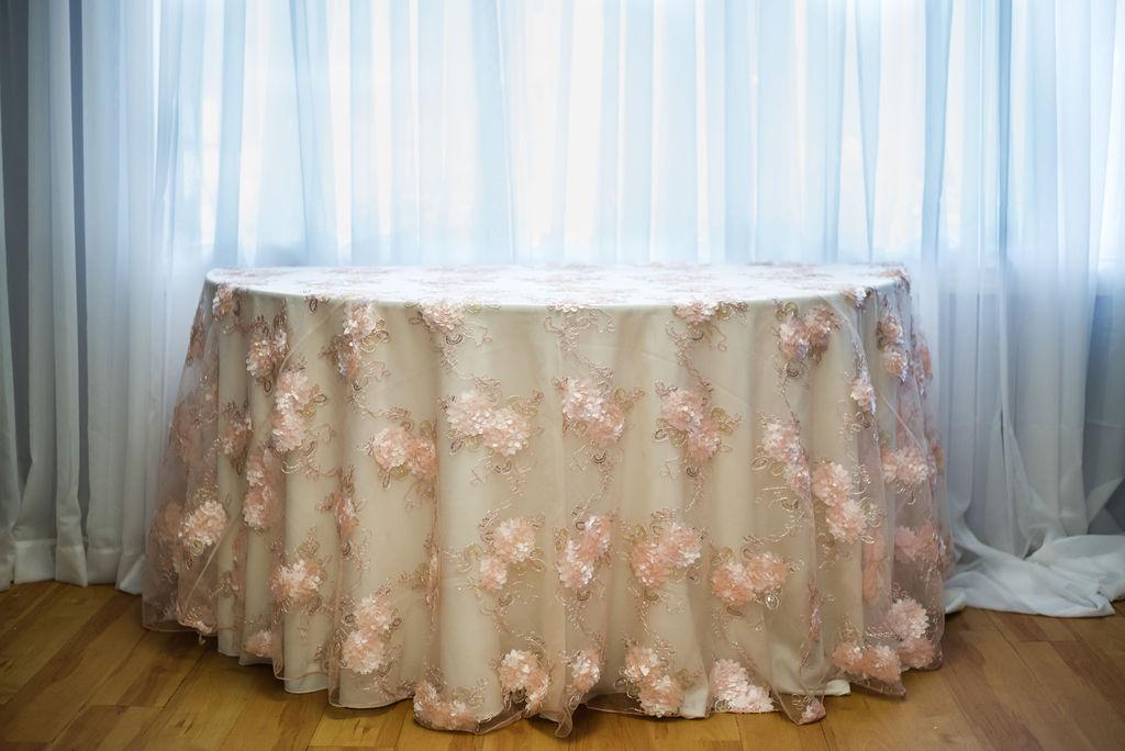 120R Blush Florette Overlay Linen