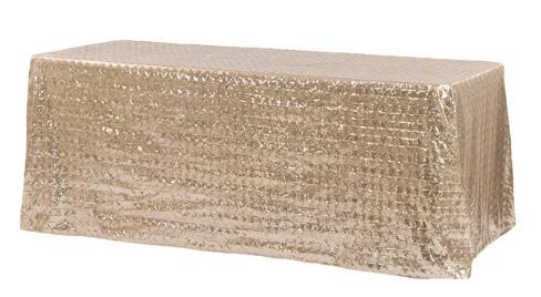 Champagne Diamond Glitz Sequin 90x156 Linen