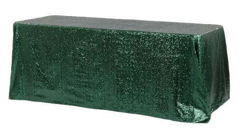 Emerald Green Diamond Glitz Sequin 90x156 Linen