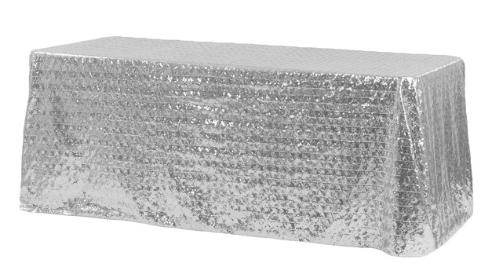 Silver Diamond Glitz Sequin 90x156 Linen