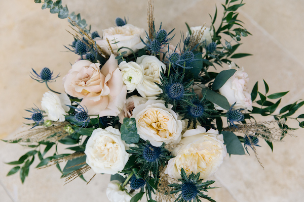 Southern Charm Events – Southern Charm Rentals – Atlantic Beach Country Club - blue thistle bridal bouquet