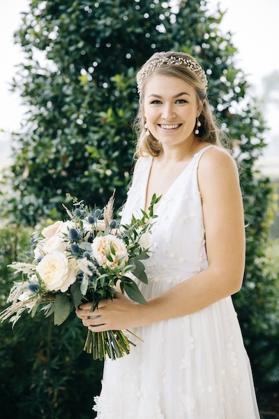 Southern Charm Events – Southern Charm Rentals – Atlantic Beach Country Club - bride - hair vines