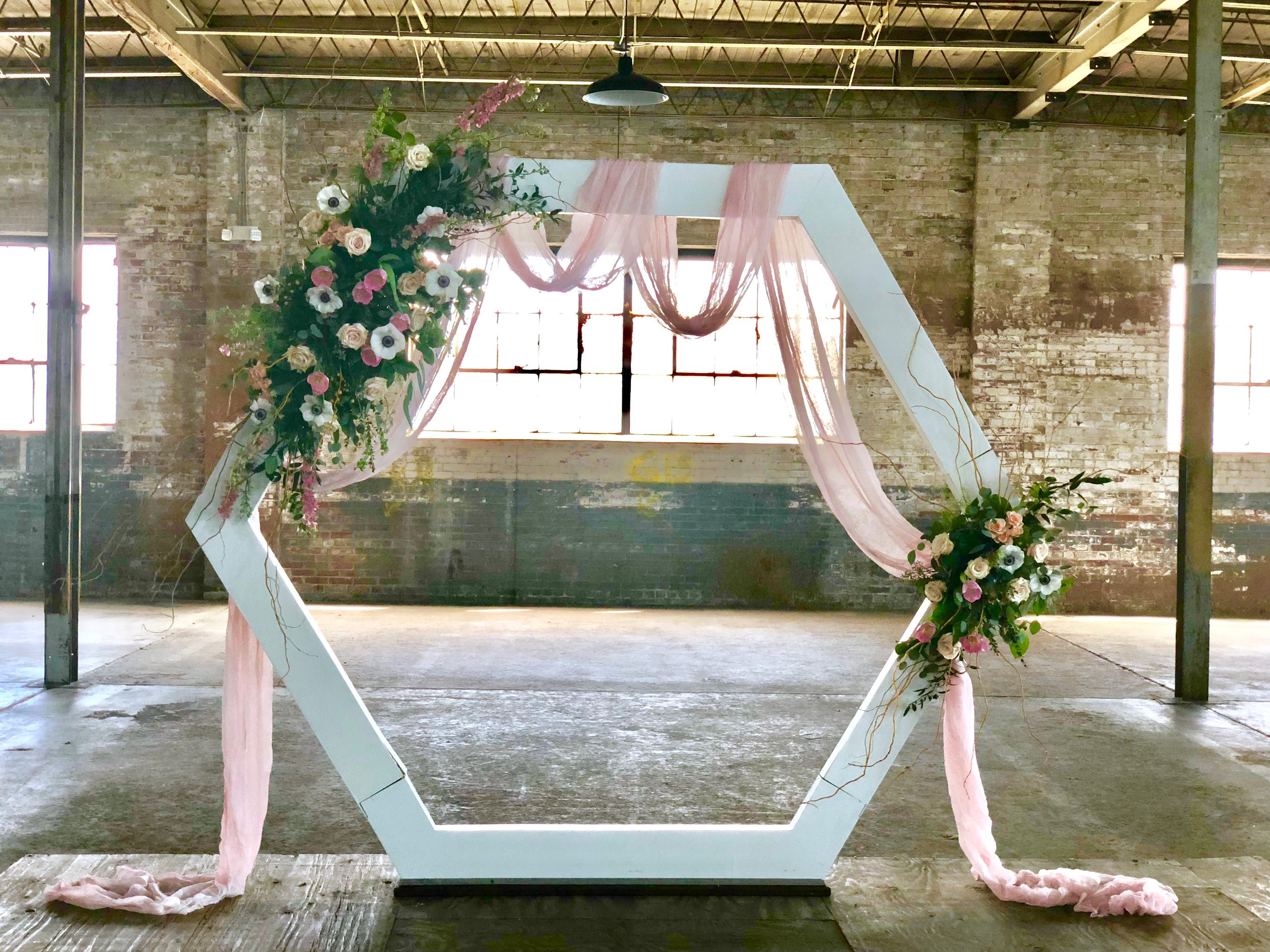 Haley Hexagon Arch (flowers and draping not included)
